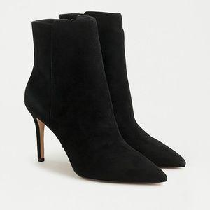 "J.Crew Black Suede 3"" High-heel Ankle Boots"